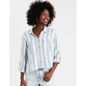 AEOAE Striped Cropped Button Up Shirt