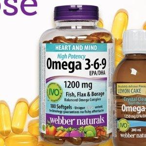 180粒 $13.28 (原价$19.99)Webber Naturals Omega 3-6-9 高效复合鱼油 提高人体免疫力