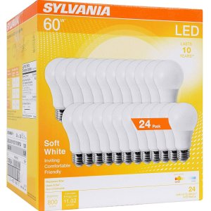 $24.08 (原价$39.9) 销量冠军Sylvania Home Lighting LED 照明灯泡8.5w 24只