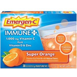 Emergen-C Immune+ 1000mg Vitamin C Powder 30 Count/1 Month Supply