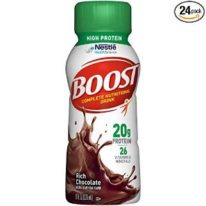 $19.46Boost High Protein Complete Nutritional Drink, Rich Chocolate, 8 fl oz Bottle, 24 Pack @ Amazon