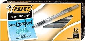 $1BIC Round Stic Grip Xtra Comfort Ball Pen, Medium Point (1.2mm), Black, 12-Count