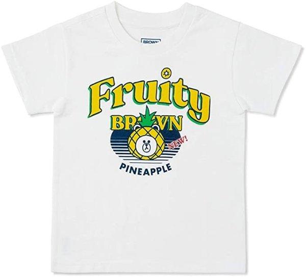 布朗熊 水果主题 儿童T恤