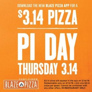 $3.14 for Each Pizza or PiePi Day Special Offers in Select Restaurants & Stores