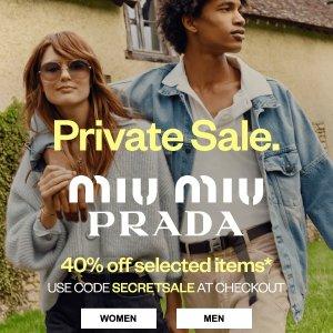 直接6折 €246收logo小白鞋Prada、Miu Miu 超强私促上线 少女风包包、鞋靴都参与