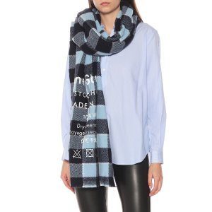 Acne Studios蓝色格纹羊毛围巾
