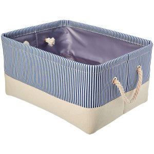 AmazonBasics Fabric Storage Basket Container with Rope Handles, Medium