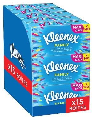 €12.57 (原价€17.96)Kleenex Family 超柔面巾纸15盒装热卖