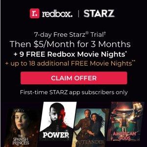 免费7天试用+每月仅$5Starz新用户注册优惠,全年最多免费享27次Redbox租碟片服务