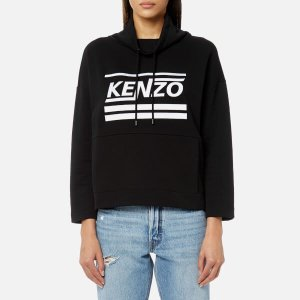 KENZO Women's Light Cotton Molleton Cropped Hooded Top - Black