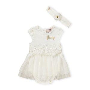 Juicy Couture(Newborn Girls) Ivory Floral Waist Tutu Bodysuit