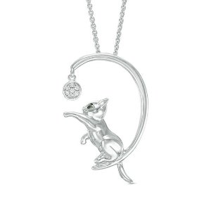 ZalesEnhanced Black and White Diamond Accent Cat with Ball Pendant in Sterling Silver|Zales