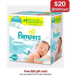 满$100赠$20礼卡Target 精选婴幼儿尿不湿、湿巾特卖