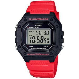 CasioMen's 'Classic' Quartz Stainless Steel and Resin Watch, Color:red (Model: W-218H-4BVCF)