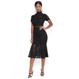 BebeLace Flare Skirt Midi Dress