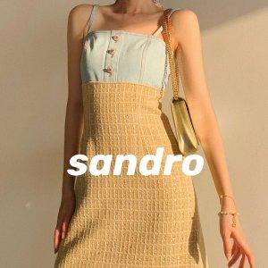 Sandro2.5折,仅剩40码拼接吊带裙