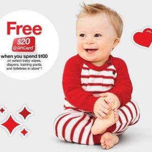 满$100送$20礼卡Target 婴儿尿布湿巾、洗护用品等促销