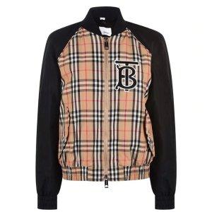 Burberry格纹棒球外套