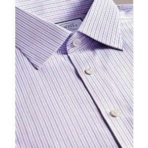 Charles TyrwhittSlim fit non-iron lilac and blue multi stripe shirt