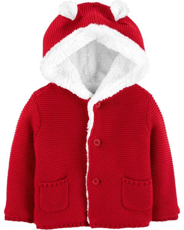 婴儿羊羔绒内里针织外套