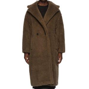 Max Mara62%初剪羊毛+26%羊驼毛,码全!泰迪熊大衣棕色