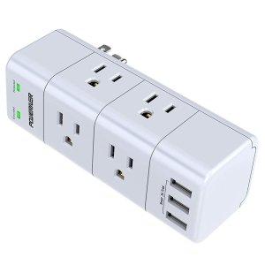 $13.58 包邮 4.6星好评POWERIVER 1875W 1680J 紧凑式墙插, 6个插座+3个USB口