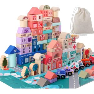 6折 $22.18收Migargle 马卡龙色系木质积木玩具,适合3岁以上儿童