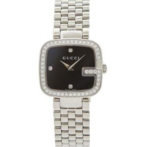 Gucci黑底细钻手表