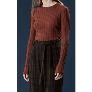 LONG SLEEVE RIBBED PULLOVER - BROWN