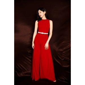 Alice + Olivia江疏影春晚同款红色连体裤