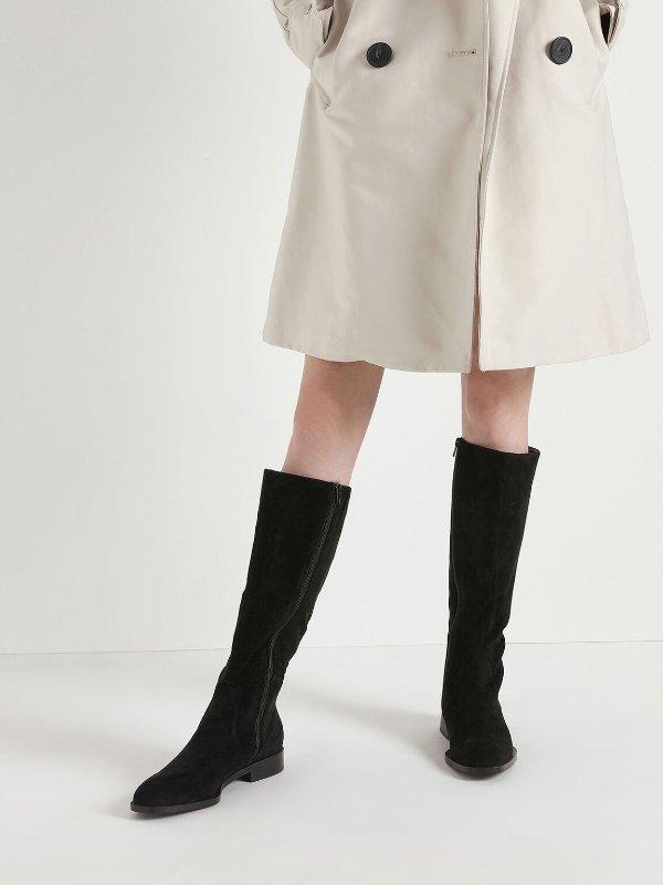 黑色拉链过膝平底靴