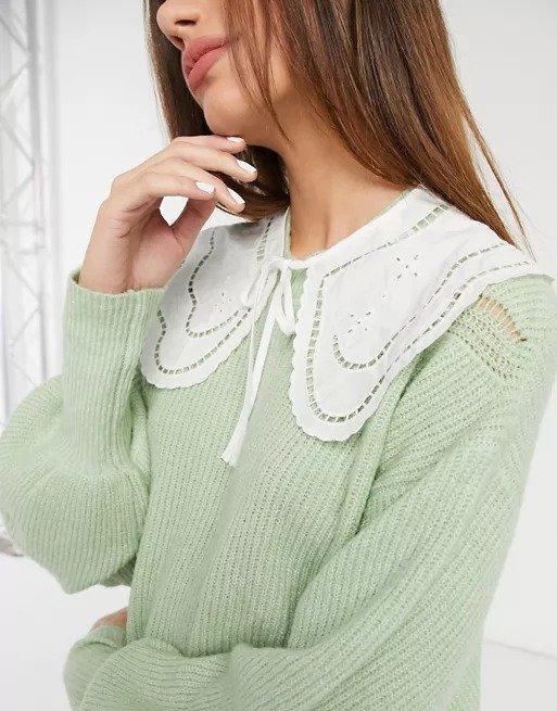 Nona cotton broderie collar