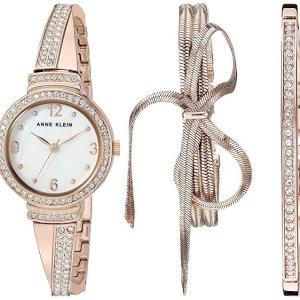 $49.99 (原价$150)黒五价:Anne Klein 施华洛世奇水晶玫瑰金色腕表套装