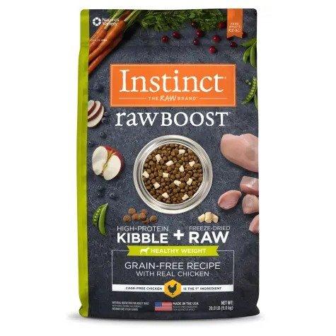 Raw Boost系列 鸡肉味无谷冻干健康体重狗粮 20磅