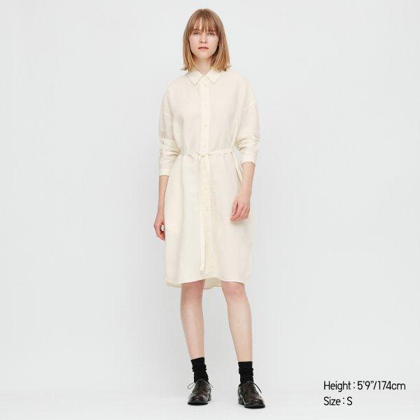 亚麻衬衫裙