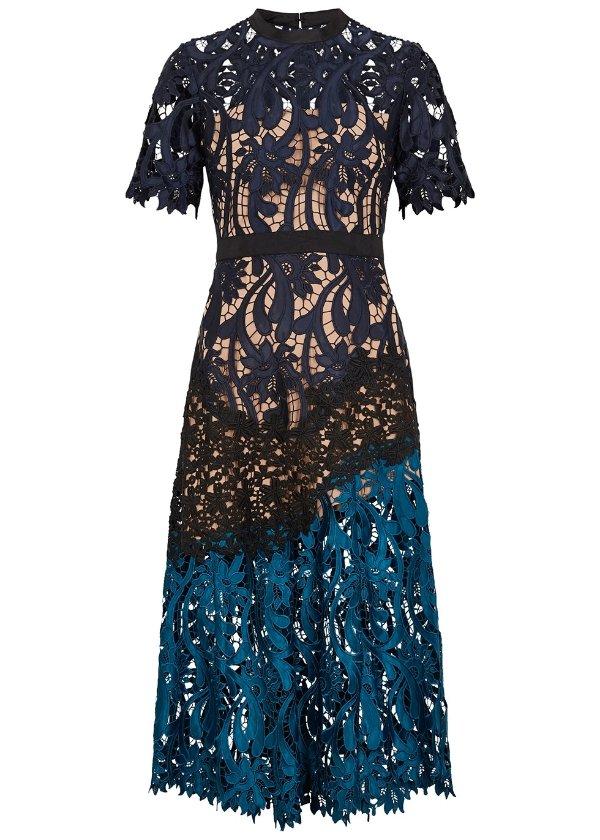 重工蕾丝连衣裙