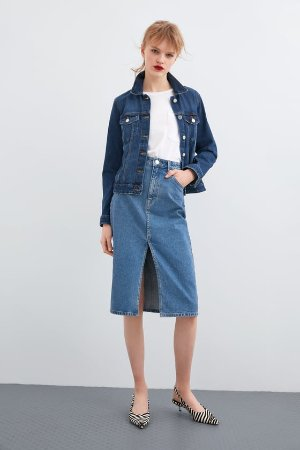 DENIM MIDI SKIRT - View All-SKIRTS-WOMAN | ZARA United States