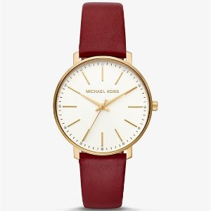 Michael KorsPyper Gold-Tone and Leather Watch