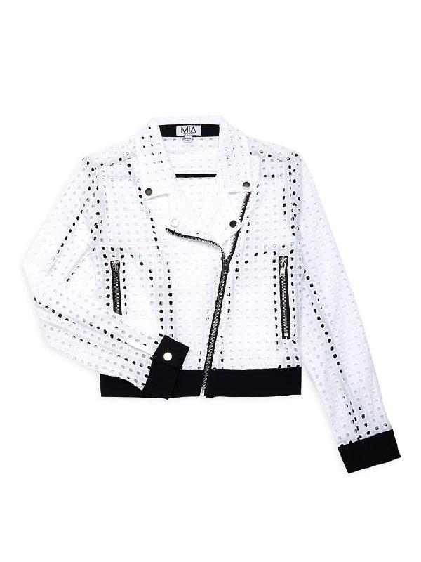 MIA New York 网眼设计 女童机车外套