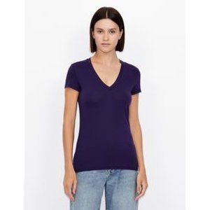Armani ExchangeSLIM FIT SHORT SLEEVE PIMA COTTON T SHIRT, Solid T Shirt for Women | A|X Online Store