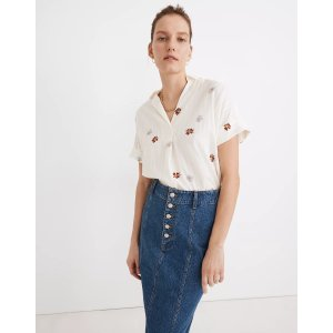 MadewellDaisy Embroidered Courier Button-Back Shirt in Stripe