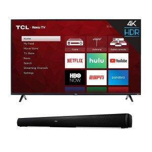43寸 $219, 50寸 $279闪购:TCL 43寸 / 50寸 4K UHD 智能电视 + Alto 5 条形音箱