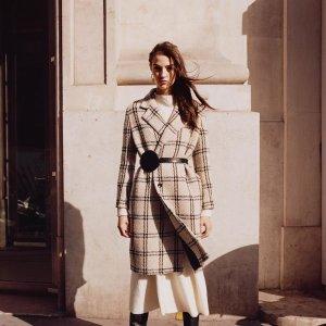 低至5折 $100 收经典条纹V领毛衣Maje 美衣热卖 入连衣裙、大衣、格纹半裙