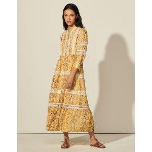 SandroLong printed dress with braid trim