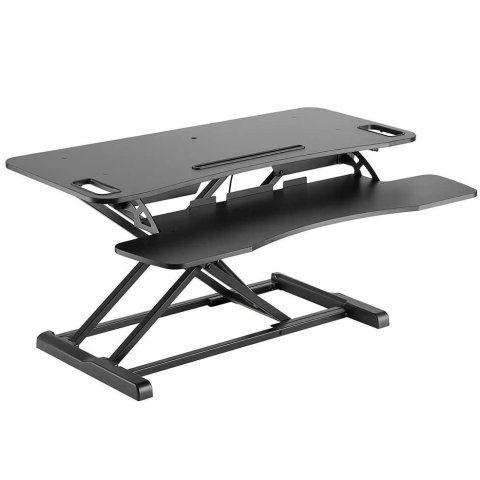 Monoprice Sit-Stand Riser Workstation Desk Converter Large - Black (37.4 x 15.7in)
