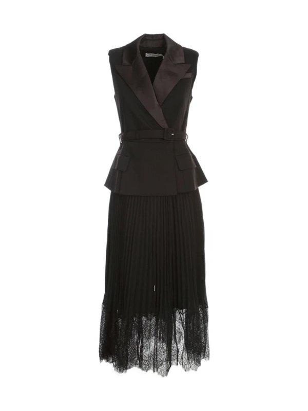 黑色西装蕾丝连衣裙
