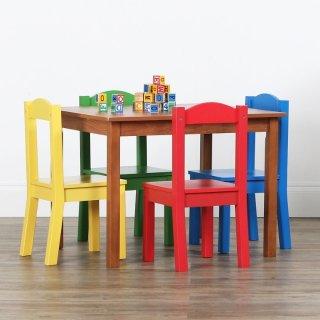 $46(原价$99)Tot Tutors 儿童木桌+5把彩色椅子套装