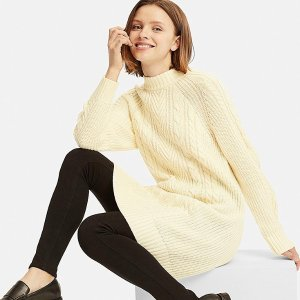 WOMEN CABLE KNIT LONG-SLEEVE DRESS | UNIQLO US