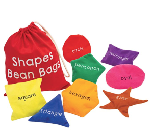 Educational Insights Shapes Beanbags for Playroom, Classroom, Set of 8