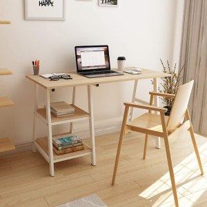 $76.49(原价$99.99) 包邮SDHYL 电脑桌 橡木纹台面 简约设计2层收纳架 0甲醛环保木材